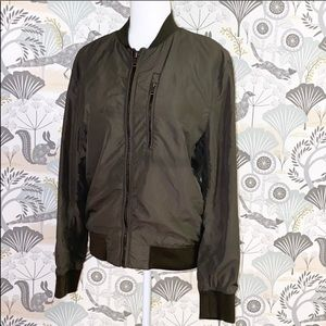 H&M • Army Green Bomber Zip Jacket Size Small